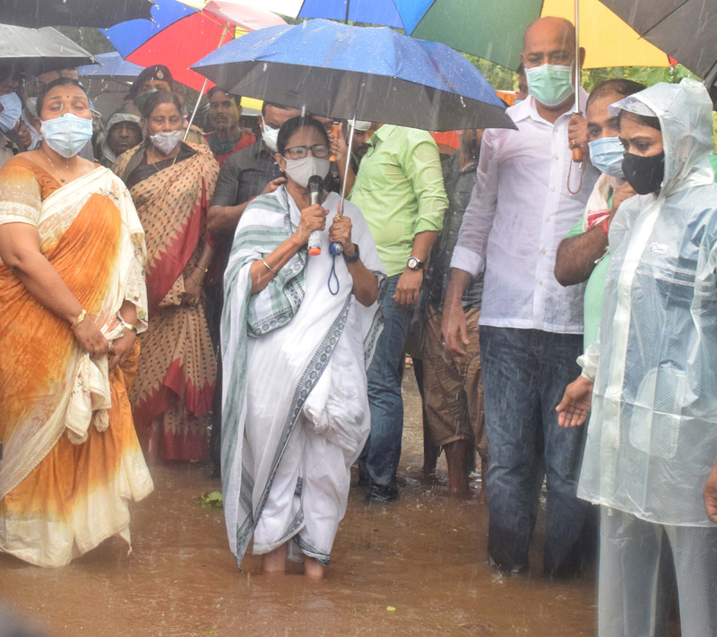 West Bengal Chief Minister Mamata Banerjee surveying flood affected areas