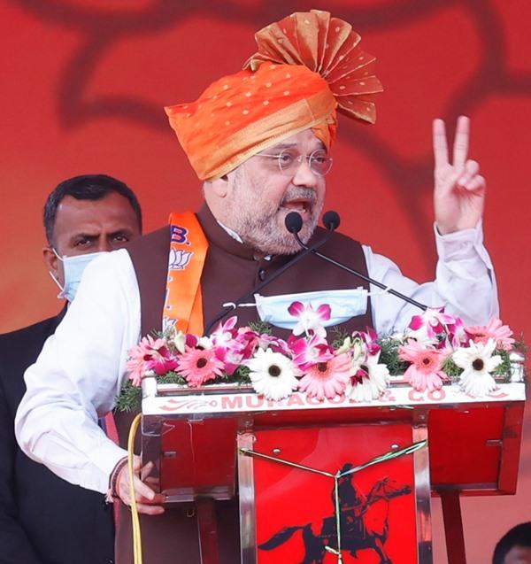 Amit Shah addresses Janasevak Samavesh in Belagavi
