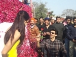 Aditya Roy Kapur presents Katrina with a truck full of roses on Rose Day