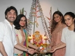 Shraddha Kapoor celebrating ganpati with family at her residence.