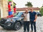 Dwayne Johnson presents car to his dad