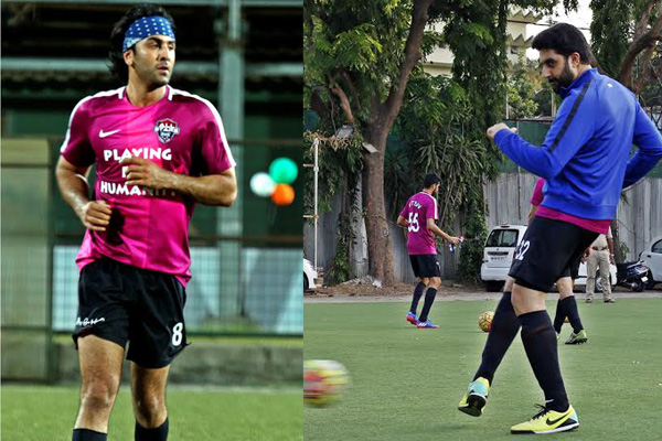 Abhishek Bachchan and Ranbir Kapoor hit the football field for charity