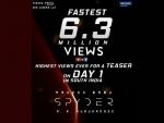 Spyder teaser clocks fastest 6.3 million views