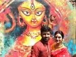 Nusrat Jahan, husband Nikhil celebrate Durga Puja together, visit Suruchi Sangha
