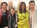 Priyanka Chopra Jonas pose with Farhan Akhtar, The Sky Is Pink director at TIFF
