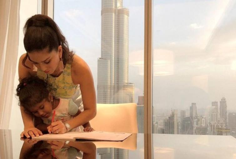 Sunny Leone enjoys her vacation in Dubai, finds time to help Nisha to do her homework