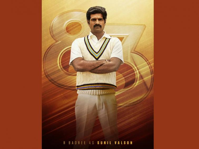 R Badree as Sunil Valson in '83, character poster comes out