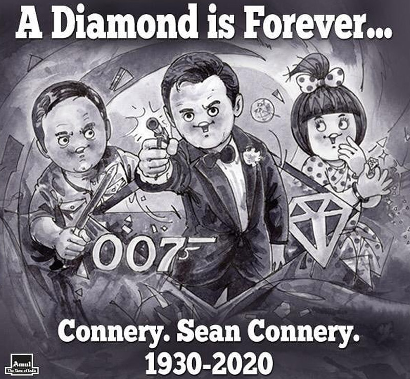 India's Amul pays tribute to Sean Connery with an iconic cartoon