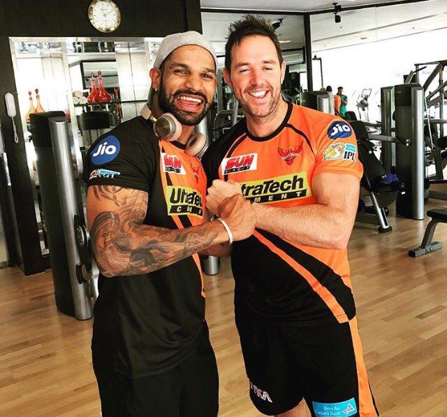 Shikhar Dhawan joins SunRisers Hyderabad teammates at gym