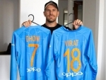 Australian skipper Aaron Finch 'thanks' Dhoni, Virat Kohli for their jerseys, shares image on social media