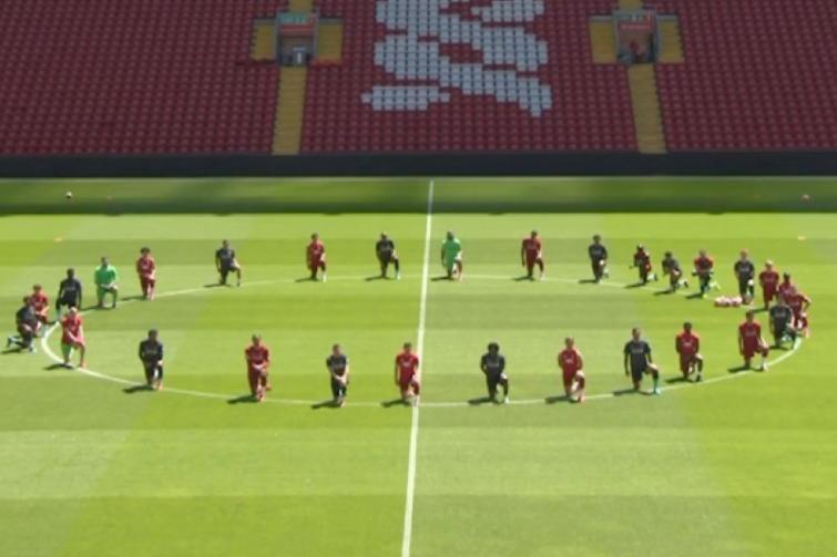 George Floyd death: Liverpool footballers kneel to support #BlackLivesMatter movement