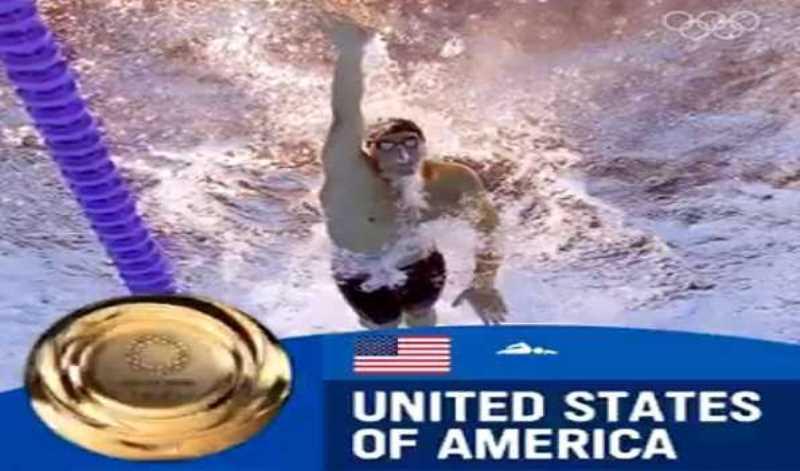 US men's swimming team wins 4x100m Medley Relay, setting world record