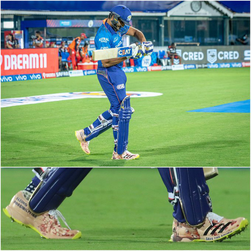 IPL 2021: Rohit Sharma wears special shoes, bats for conservation of rhinos