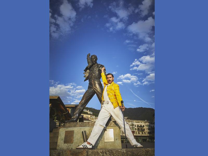 Ranveer Singh in front of Freddie Mercury statue in Switzerland