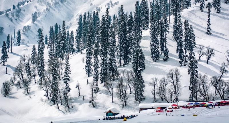 Tourists enjoy snow in Jammu and Kashmir's DKG