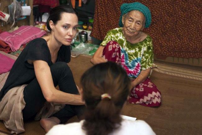 UN envoy Angelina Jolie visits displaced people in Myanmar's Kachin state