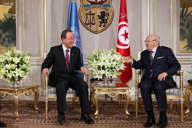 In Tunisia, Ban welcomes country's democratic progress