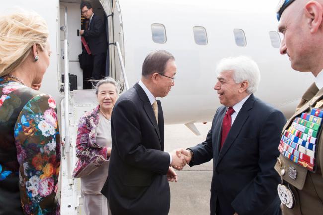 In Lebanon, Ban prasies country's generosity towards Syrian refugees