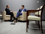 Canada PM Justin Trudeau meets French President Emmanuel Macron in New York