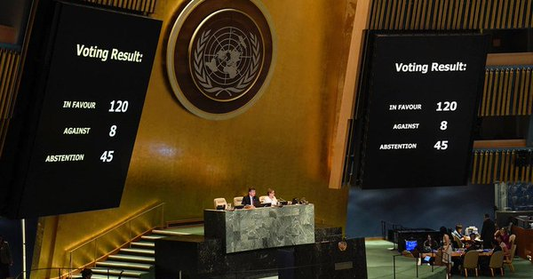 General Assembly adopts text urging greater protection for Palestinians, and deploring Israel's 'excessive' use of force