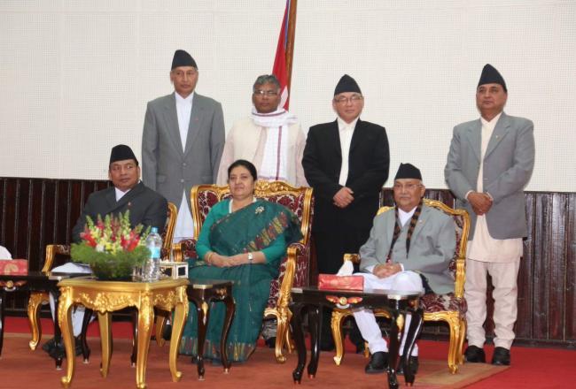 Nepal PM KP Oli greets people on Holi