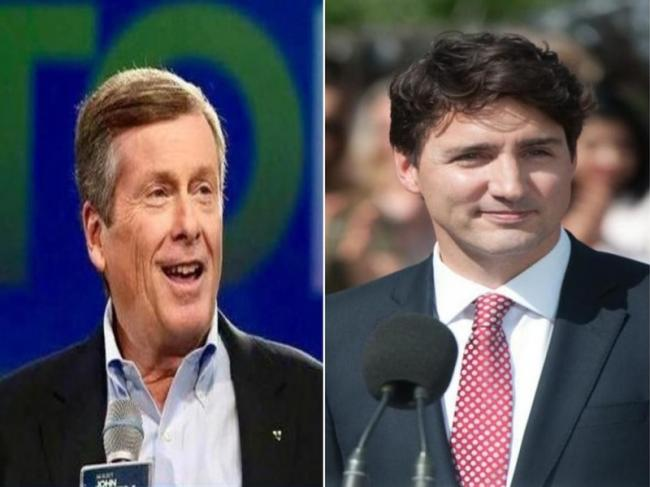 Canada PM Justin Trudeau congratulates John Tory for winning Toronto mayoral election