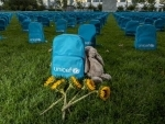 UNICEF backpacks used as a haunting symbol to call for greater protection of children living in conflict