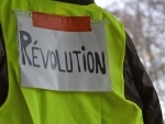 Yellow vest protesters rally at place Wagram in French capital of Paris