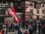 Activists protest outside Pakistani Embassy in Kathmandu against atrocities committed against Hindus