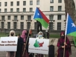 Protesters assemble in front of Boris Johnson's residence in London, demonstrate against enforced disappearances in Balochistan