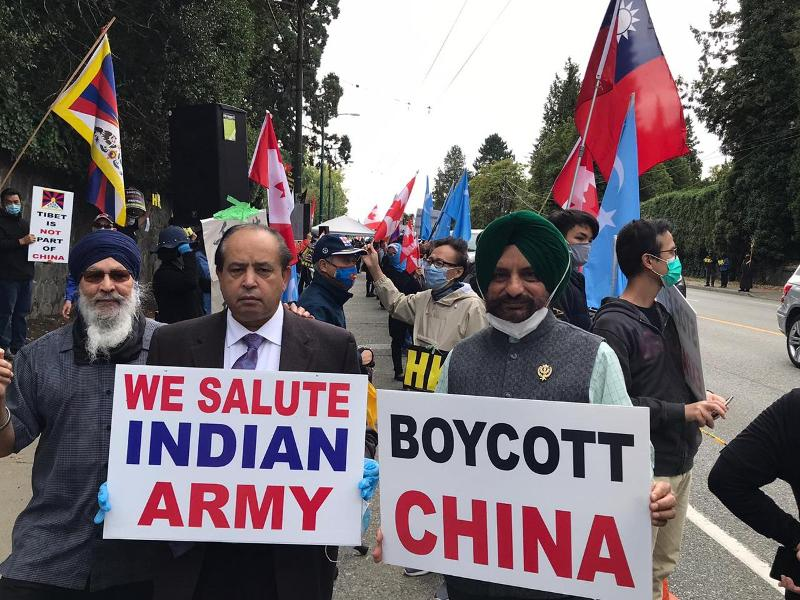 Friends of Canada-India with other groups demonstrate outside Chinese Consulate in Vancouver