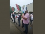 MQM leaders demonstrate in London against Pak PM Imran Khan's threat to assassinate Altaf Hussain