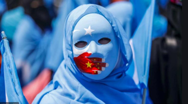 Uyghur community members protest in Tokyo