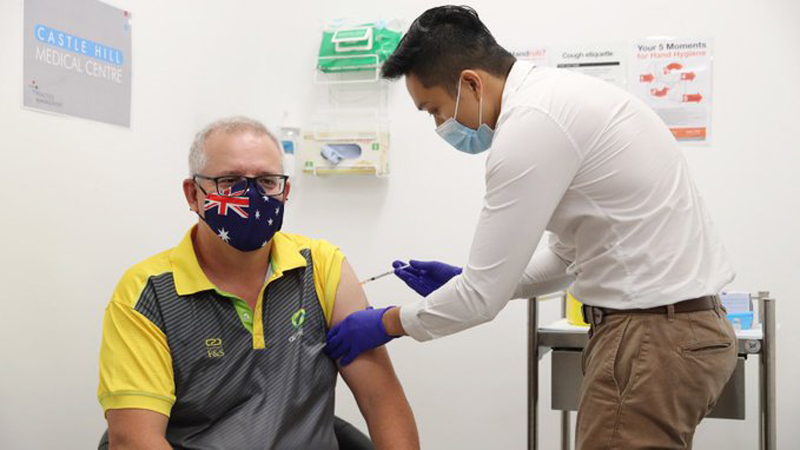Australian Prime Minister gets vaccinated against COVID19 marking 'comeback' from pandemic